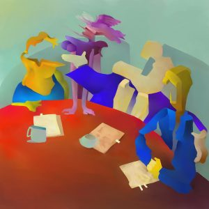Abstract painting depicting the business life of men sitting at a conference table.